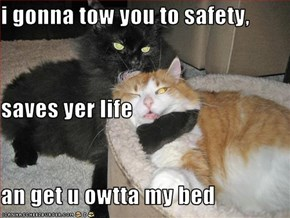i gonna tow you to safety, saves yer life an get u owtta my bed