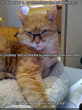 Itz bin brwot to my attenshunz taht sum hoomans   iz 'Failling' Lolz in attemp to uppgrade tehr ownz Lolz Dis   W  O  N  T  Z    beez toller8 ted!