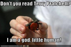Don't you read Terry Pratchett?  I am a god, little human!