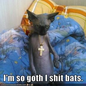 I'm so goth I shit bats.