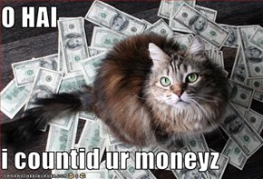 O HAI  i countid ur moneyz