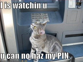 I is watchin u  u can no haz my PIN
