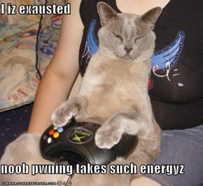 I iz exausted  noob pwning takes such energyz