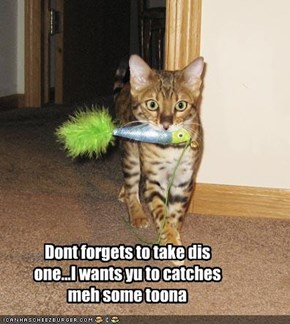 Dont forgets to take dis one...I wants yu to catches meh some toona