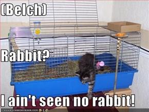 (Belch) Rabbit? I ain't seen no rabbit!