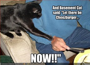 "And Basement Cat said, ""Let there be Cheezburger..."