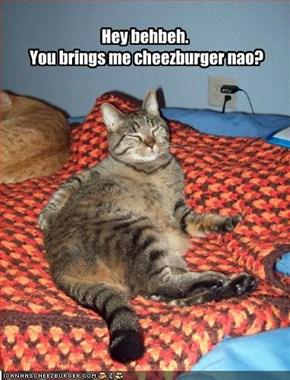 Hey behbeh.  You brings me cheezburger nao?
