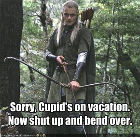 Sorry, Cupid's on vacation. Now shut up and bend over.