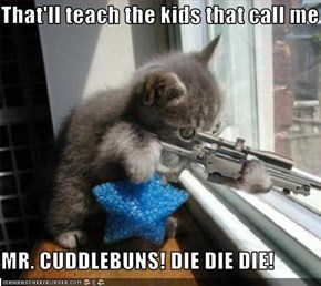 That'll teach the kids that call me  MR. CUDDLEBUNS! DIE DIE DIE!