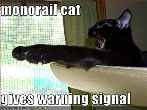 monorail cat  gives warning signal