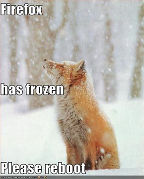 Firefox has frozen Please reboot