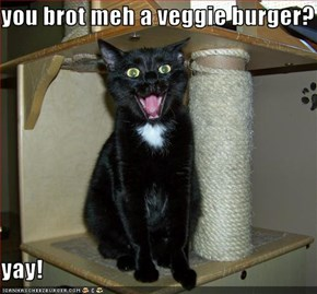 you brot meh a veggie burger?  yay!