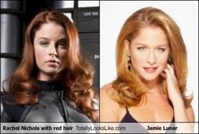 Rachel Nichols with red hair Totally Looks Like Jamie Luner
