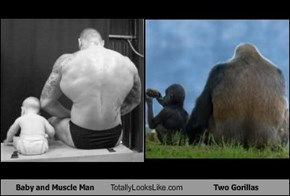 Baby and Muscle Man Totally Looks Like Two Gorillas