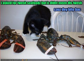 i asked for fwesh seafoodz but iz didnt meen dis fwesh