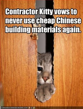 Contractor Kitty vows to never use cheap Chinese building materials again.