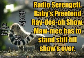 Radio Serengeti. Baby's Preetend Ray-dee-oh Show. Maw-mee has to stand still till show's over.