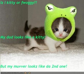 Iz I kitty or fwoggy?! My dad looks like a kitty! But my muvver lookz like da 2nd one!