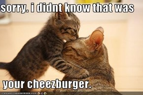 sorry. i didnt know that was   your cheezburger.