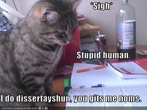 *Sigh*                                       Stupid human. I do dissertayshun, you gits me noms.