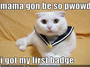 mama gon be so pwowd...  i got my first badge