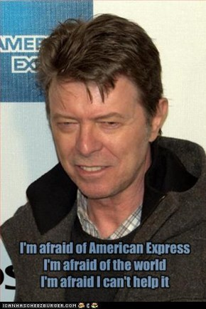 I'm afraid of American Express I'm afraid of the world I'm afraid I can't help it