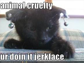 animal cruelty  ur doin it jerkface