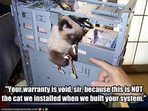 """Your warranty is void, sir, because this is NOT  the cat we installed when we built your system."""