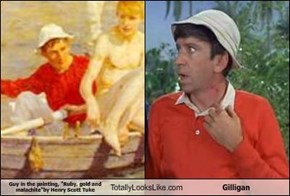 "Guy in the painting, ""Ruby, gold and malachite""by Henry Scott Tuke Totally Looks Like Gilligan"