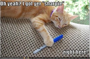 "Oh yeah? I got yer ""sharpie""  right here!"