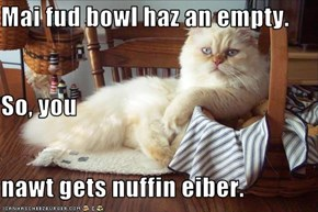 Mai fud bowl haz an empty. So, you nawt gets nuffin eiber.