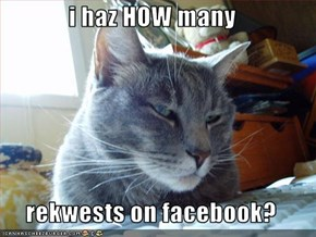 i haz HOW many  rekwests on facebook?