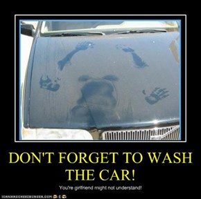 DON'T FORGET TO WASH THE CAR!