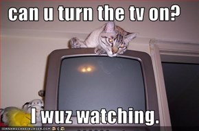 can u turn the tv on?  I wuz watching.