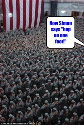 "Now Simon says ""hop on one foot!"""