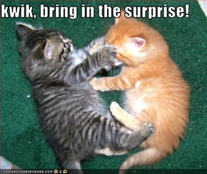 kwik, bring in the surprise!