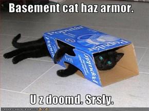 Basement cat haz armor.  U z doomd. Srsly.