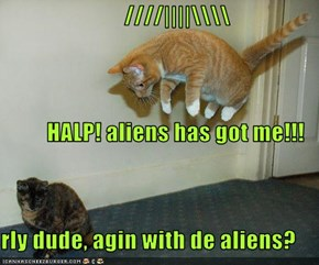 ////||||\\ HALP! aliens has got me!!! rly dude, agin with de aliens?