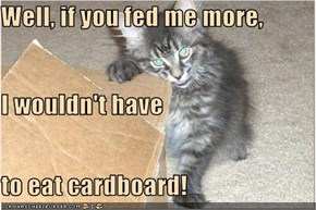 Well, if you fed me more, I wouldn't have to eat cardboard!