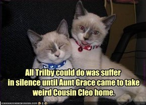 All Trilby could do was suffer  in silence until Aunt Grace came to take  weird Cousin Cleo home.