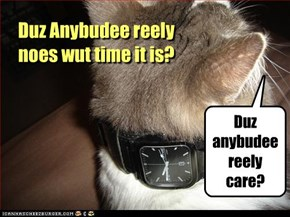 Duz Anybudee reely noes wut time it is?
