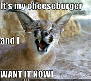 It's my cheeseburger and I WANT IT NOW!