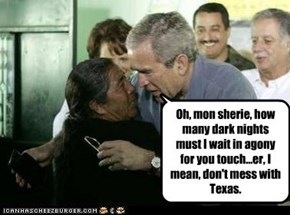 Oh, mon sherie, how many dark nights must I wait in agony for you touch...er, I mean, don't mess with Texas.