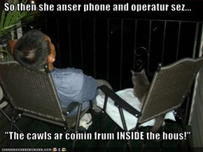 "So then she anser phone and operatur sez...  ""The cawls ar comin frum INSIDE the hous!"""