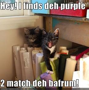Hey! I finds deh purple  2 match deh bafrum!