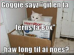 """Goggie sayz """"git en ta lerns ta Box""""   haw long til ai noes?"""