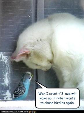 Wen I count t'3, uze will wake up 'n neber wantz ta chase birdies again.