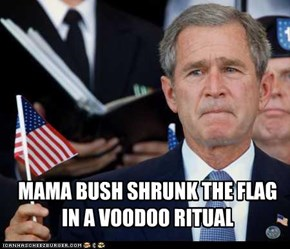 MAMA BUSH SHRUNK THE FLAG  IN A VOODOO RITUAL