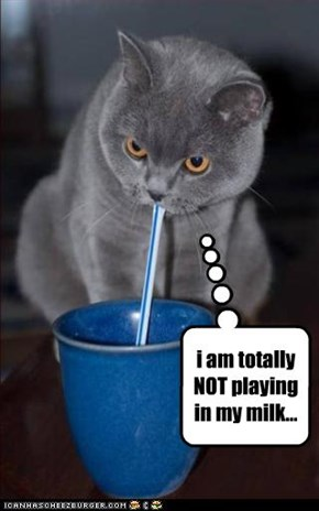 i am totally NOT playing in my milk...
