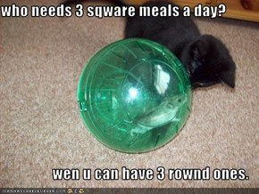 who needs 3 sqware meals a day?  wen u can have 3 rownd ones.